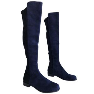 Suede over the knee boot (navy)